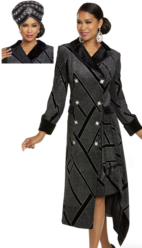 Donna Vinci 5704 ( 1pc Exvlusive Novelty Velvet Ladies Church Dress With Silver Trim And Beautiful Rhinestone Buttons )