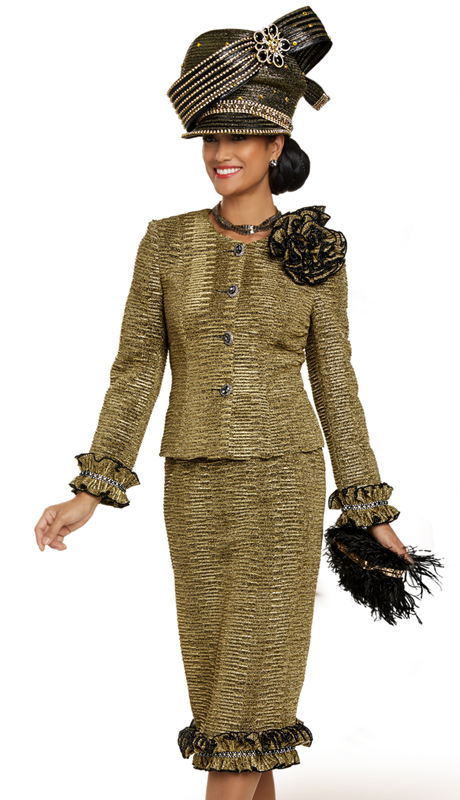 Donna Vinci 5708 ( 2pc Exclusive Novelty Ladies Church Suit With Pleated Trim And Beautiful Rhinestones Buttons )
