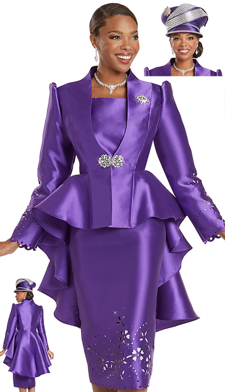 Donna Vinci 5737 ( 2pc Exclusive Silk Look Ladies Church Suit With Laser Cut Sleeves And Skirt Plus Rhinestones Trims And Detachable Broach )