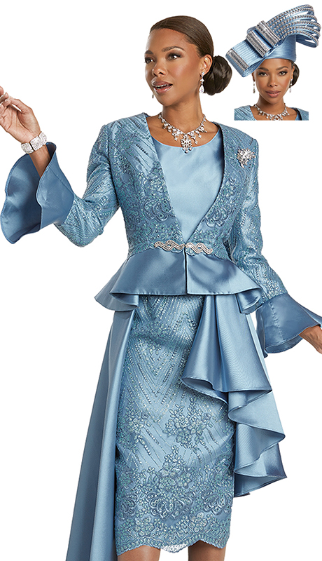 Donna Vinci 5730 ( 3pc Exclusive Silk Look Church Suit With Exclusive Guipure Lace And Detachable Rhinestone Broach And Buckle )