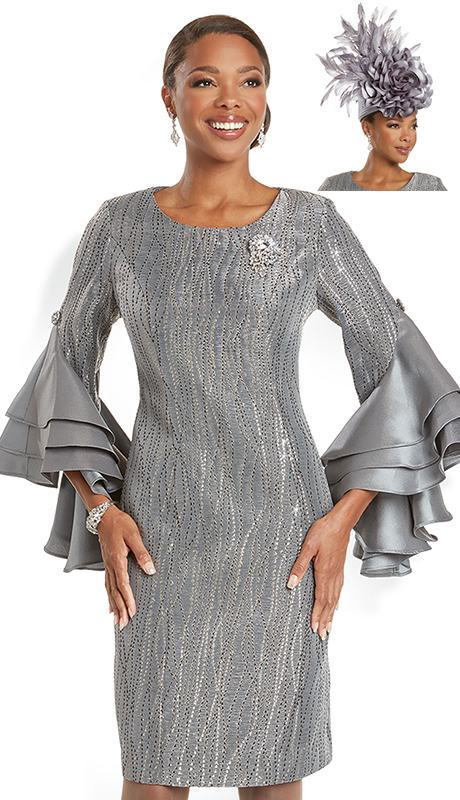 Donna Vinci 5731 ( 1pc Exclusive Novelty Ladies Church Dress With Beautiful Dramatic Sleeves And Detachable Rhinestone Broach )