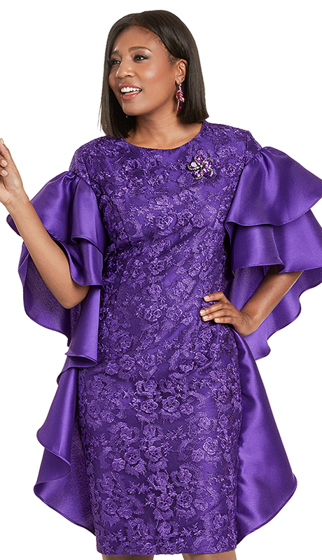 Donna Vinci 5732 ( 1pc Exclusive Novelty Ladies Church Dress With Beautiful Ruffle Sleeves And Detachable Rhinestone Broach )