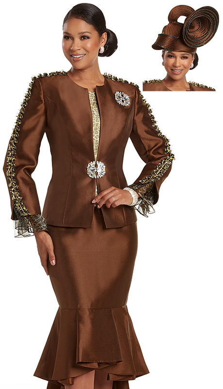 Donna Vinci 5733 ( 3pc Exclusive Silk Look Church Suit With Animal Print Details And Detachable Rhinestone Broach And Beautiful Buckle )