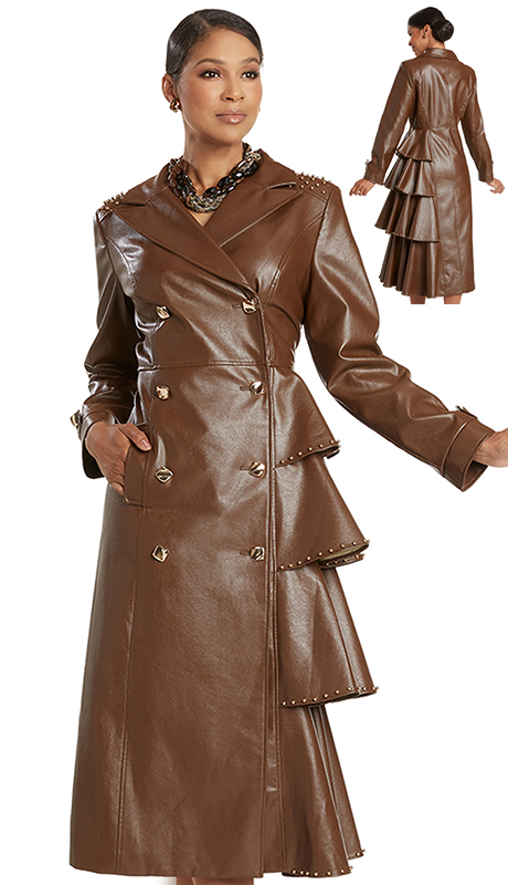 Donna Vinci 5734 ( 1pc Exclusive Faux Leather Ladies Church Dress With Trimmed Details And Gold Buttons Plus Beautiful Studs )