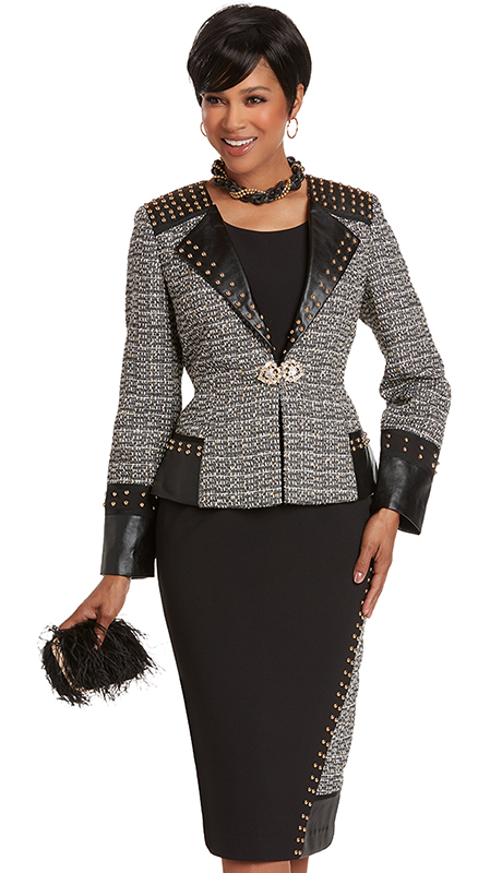 Donna Vinci 5735 ( 3pc Exclusive Novelty Ladies Church Suit Trimmed With Faux Leather And Gold Studs Plus Rhinestones Buckle )
