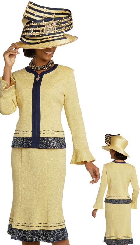 Donna Vinci 13278 ( 2pc Ladies Exclusive Knit Church Suit With Elaborate Rhinestone Design )