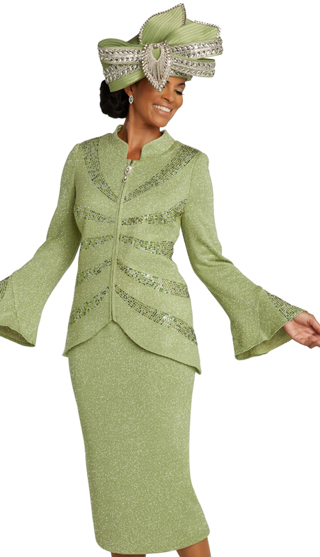 Donna Vinci 13296 ( 2pc Exclusive Womans Suit For Sunday With Abstract Rhinestone Pattern )