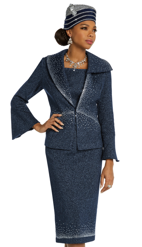 Donna Vinci 13297 ( 2pc Exclusive Womens Knit Church Suit With Elaborate Ombre Rhinestone Design )