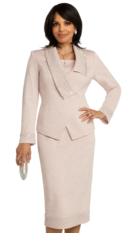 Donna Vinci 13280 ( 2pc  Womens Exclusive Knit Suit For Church With Elaborate Rhinestone Design And Large Rhinestone Trims )