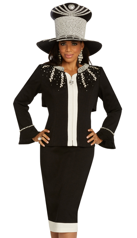 Donna Vinci 13281 ( 2pc Womens Exclusive Knit Sunday Suit Trimmed With Pearls And Beautiful Rhinestone Design )