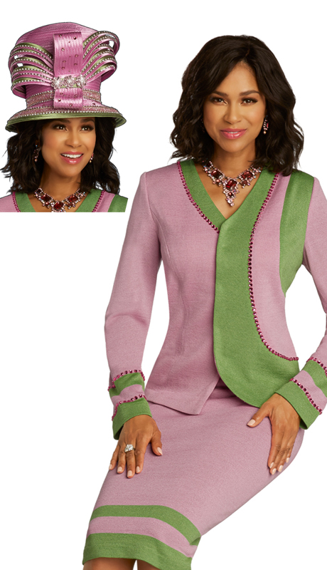 Donna Vinci 13284 ( 2pc First Ladies Exclusive Knit Sunday Suit With Pink Colored Rhinestone Border Design )