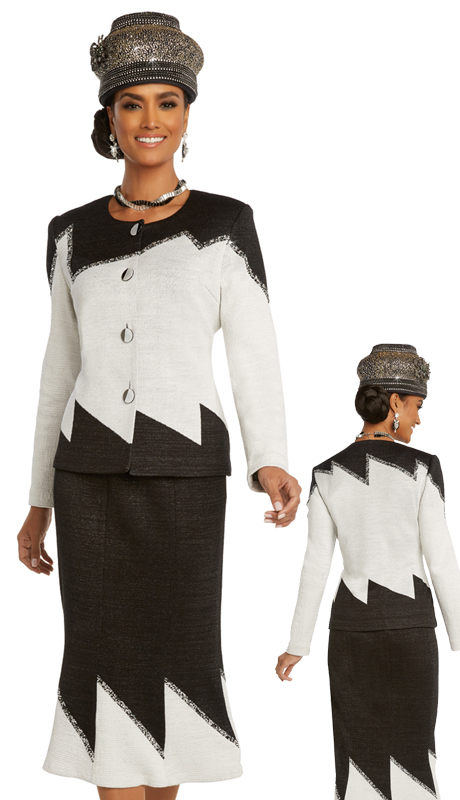 Donna Vinci 13286 ( 2pc Womens Exclusive Knit Sunday Suit With Bold Two Tone Pattern And Black And Silver Rhinestone Trim )