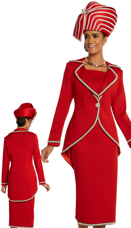 Donna Vinci 13288 ( 2pc Exclusive Womens Knit Sunday Suit With Pearl And Beaded Trims And Rhinestone Buttons )