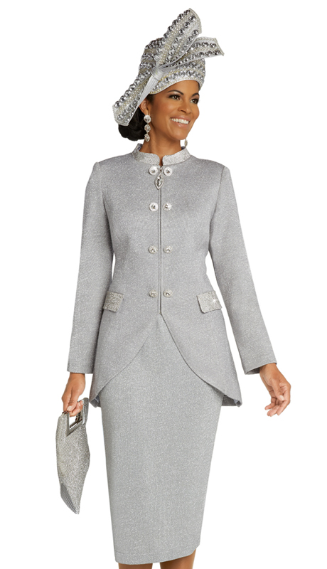 Donna Vinci 13294 ( 2pc Exclusive Womens Knit Church Suit With High Low Jacket And Elaborate Rhinestone Accents And Buttons )