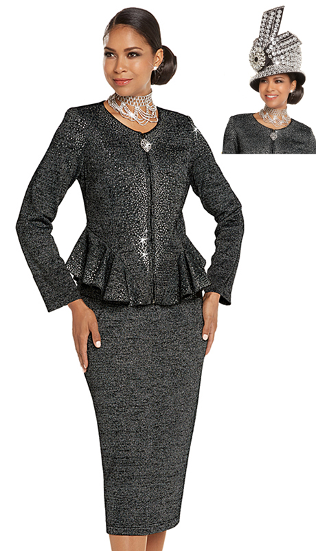 Donna Vinci 13245-BS ( 2pc Exclusive Knit Church Suit With An Elaborate Rhinestones Pattern )