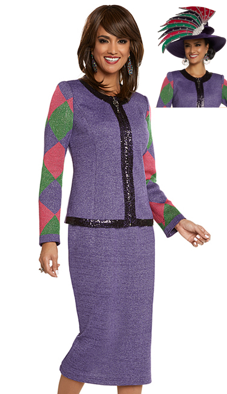 Donna Vinci 13235-PFG-IM ( 2pc Exclusive Knit Church Suit With Dark Purple Sequin Trims )