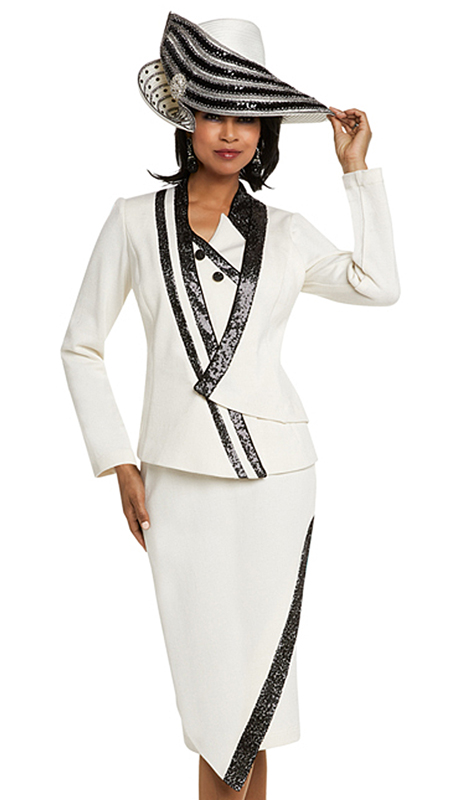 Donna Vinci 13231-OWB ( 2pc Exclusive Knit Church Suit With Black Sequin Trim And Buttons )
