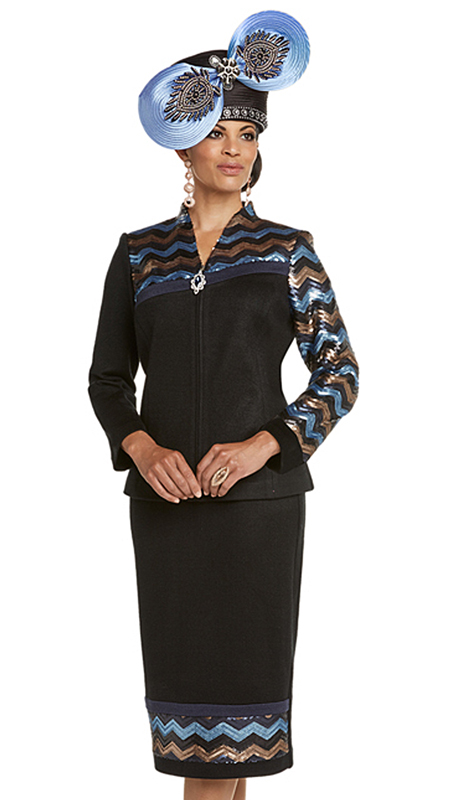Donna Vinci 13230-BM ( 2pc Exclusive Knit Church Suit With Multi Colored Sequin Trims )