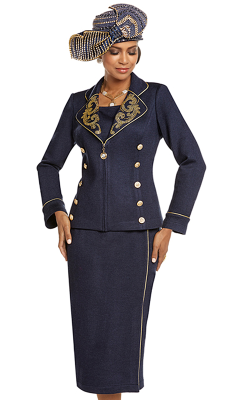 Donna Vinci 13229-NA ( 2pc Exclusive Knit Church Suit With Elaborate Gold Rhinestone Trims And Gold Buttons )
