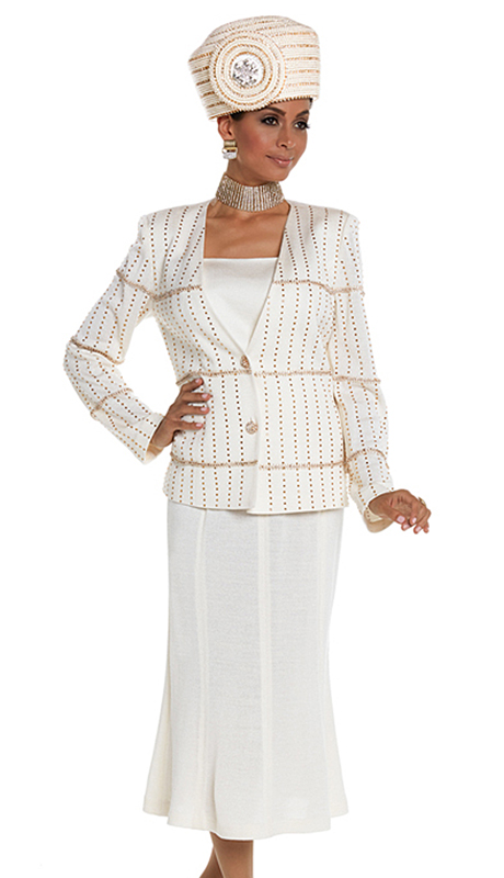 Donna Vinci 13212-OWG ( 2pc Exclusive Knit Church Suit With Elaborate Gold Rhinestone Trims And Buttons )
