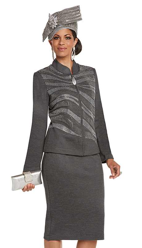 Donna Vinci 13244-GR ( 2pc Exclusive Knit Church Suit With Elaborate Rhinestone Pattern )