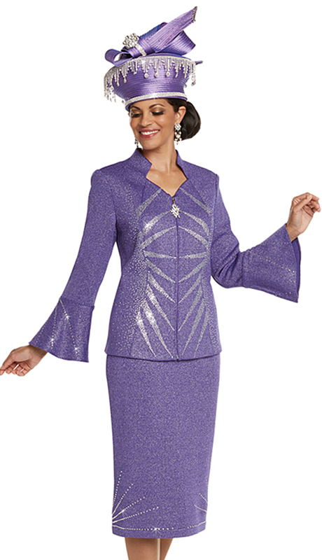 Donna Vinci 13243-PU ( 2pc Exclusive Knit Church Suit With Elaborate Rhinestone Pattern )