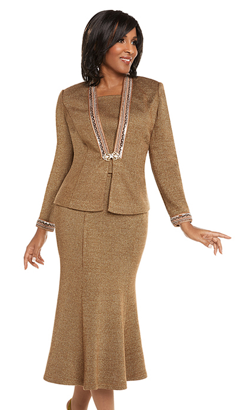 Donna Vinci 13242-CO ( 2pc Exclusive Knit Church Suit With Pearls And Rhinestones With An Elaborate Buckle )