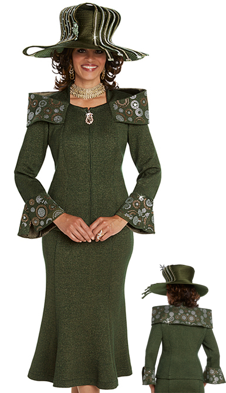 Donna Vinci 13241-HG ( 2pc Exclusive Knit Church Suit With Elaborate Gold And Silver Rhinestone Patterns )