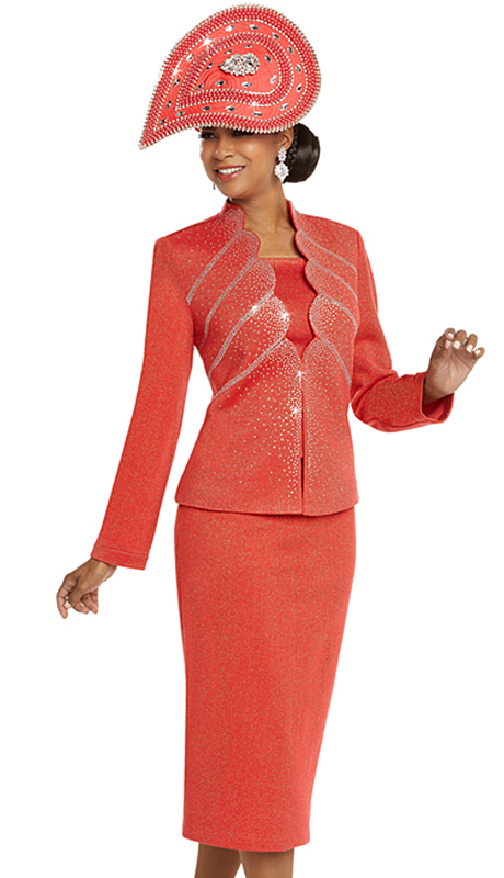 Donna Vinci 13239-CO ( 2pc Exclusive Knit Church Suit With Elaborate Rhinestone Pattern )