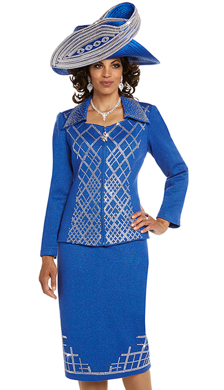 Donna Vinci 13238-RO ( 2pc Exclusive Knit Church Suit With Elaborate Rhinestone Pattern )