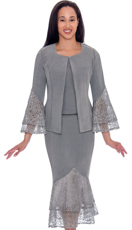 Devine Sport 62143-SI ( 3pc Lace Layered Flounce Design Denim Skirt Suit )