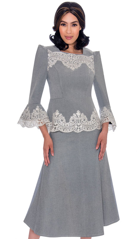 Devine Sport 62132-SI ( 2pc Flared Denim Skirt Suit With Bell Sleeves And Lace Accents )