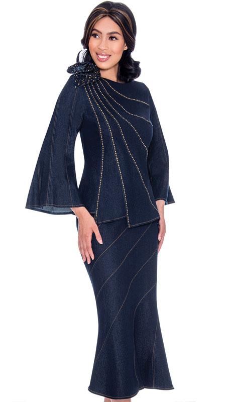 Devine Sport 62182-NA ( 2pc Embellished Asymmetric Design Denim Flared Skirt Suit With Shoulder Bow Adornment )