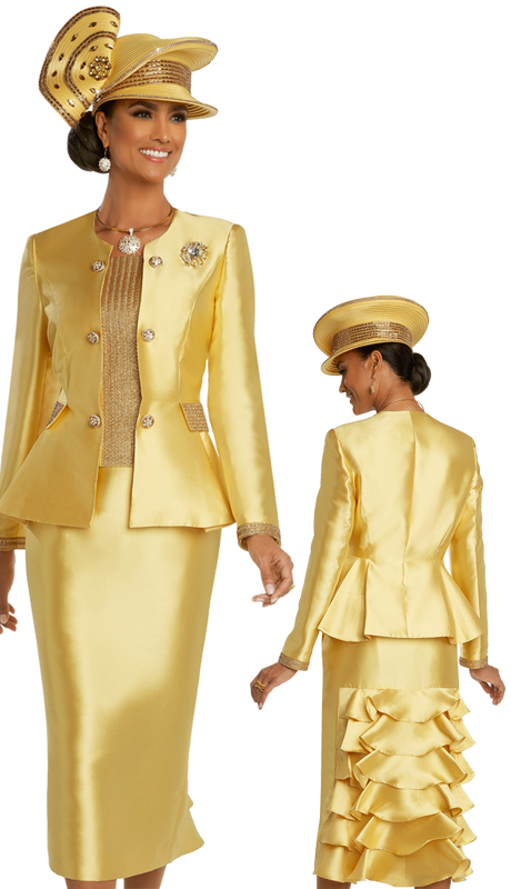 Donna Vinci 11826 ( 2pc Exclusive Silk Womens Church Suit With Metallic Novelty Design, Detachable Rhinestone Broach, And Rhinestone Buttons )