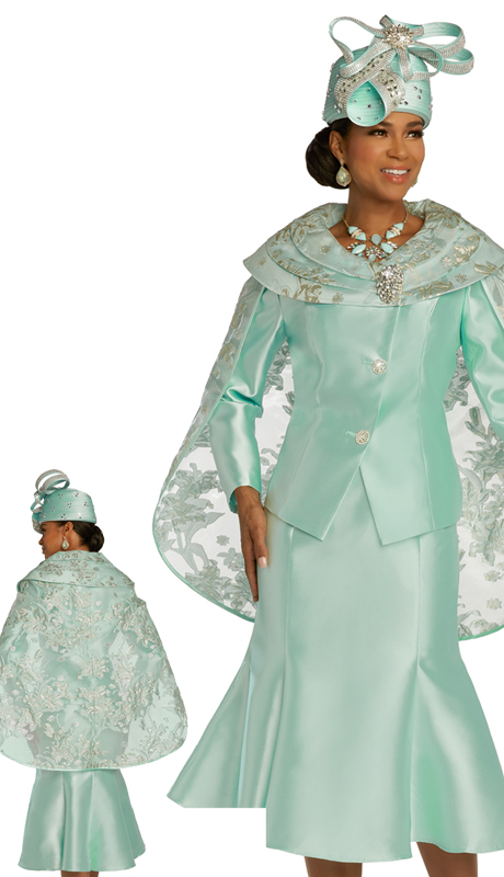 Donna Vinci 5693 ( 2pc Exclusive Novelty And Silk Ladies Church Suit With Embroidered Cape, Detachable Rhinestone Broach And Rhinestone Buttons )