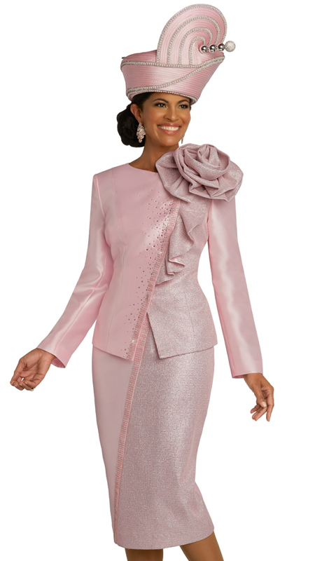 Donna Vinci 5692 ( 2pc Exclusive Metallic Novelty And Silk Womens Suit For Church With Elaborate Rhinestone Trims And Ruffled Accent Shoulder Piece )