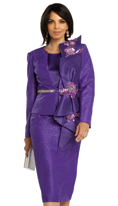 Donna Vinci 5691 ( 3pc Exclusive Novelty First Ladies Church Suit With Stunning Accents, And Rhinestone And Laced Sequins Trims )
