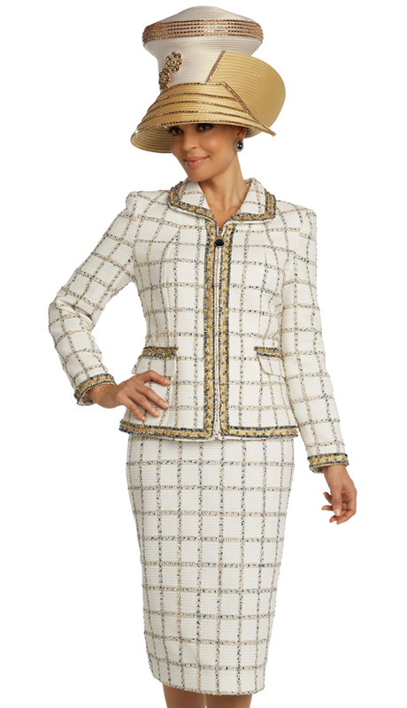 Donna Vinci 5690 ( 2pc Exclusive Textured Novelty Womens Sunday Suit With Blue And Gold Inserts, And Trimmed With Metallic Design And Gold Pearls )