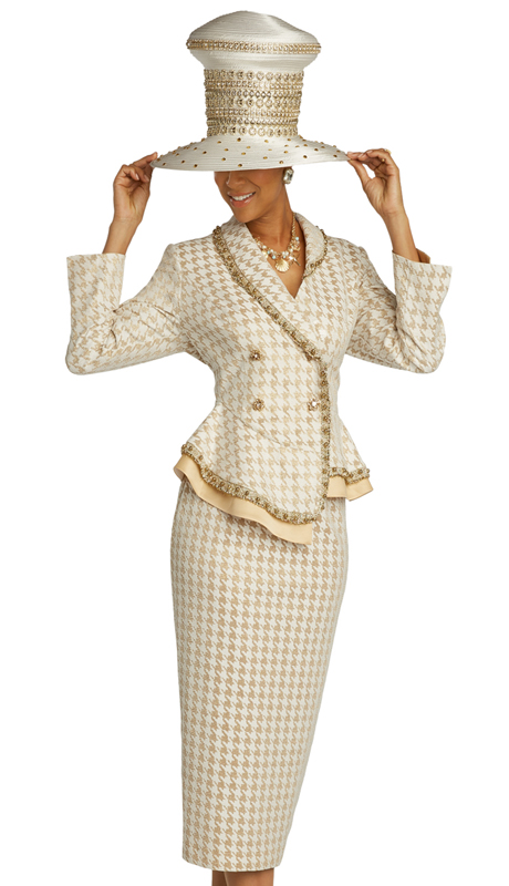 Donna Vinci 5689 ( 2pc Exclusive Textured Novelty Ladies Church Suit With Metallic Accents, And Trimmed With Boucle, Gold Pearls, And Rhinestone Buttons )