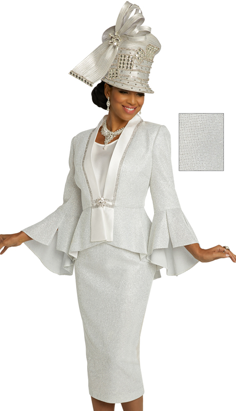 Donna Vinci 5688 ( 3pc Exclusive Novelty Textured Womens Suit For Church With Silk Accents, Elaborate Rhinestone Trim, And Stoned Buckle )