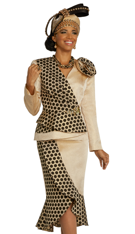Donna Vinci 5687 ( 2pc Exclusive Novelty Womens Suit For Sunday With Alternating Solid And Polka Dot Design With Ruffled Shoulder And Beautiful Buckle )