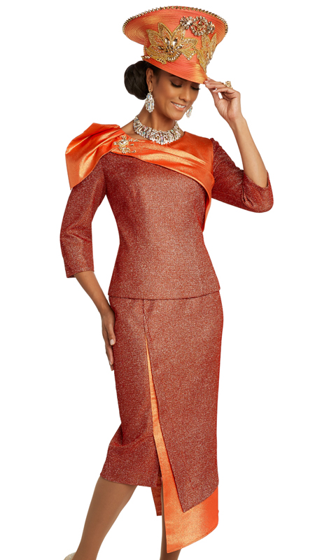 Donna Vinci 5686 ( 2pc Exclusive Textured Novelty Womens Church Suit With Bold Metallic Accents And Detachable Broach )