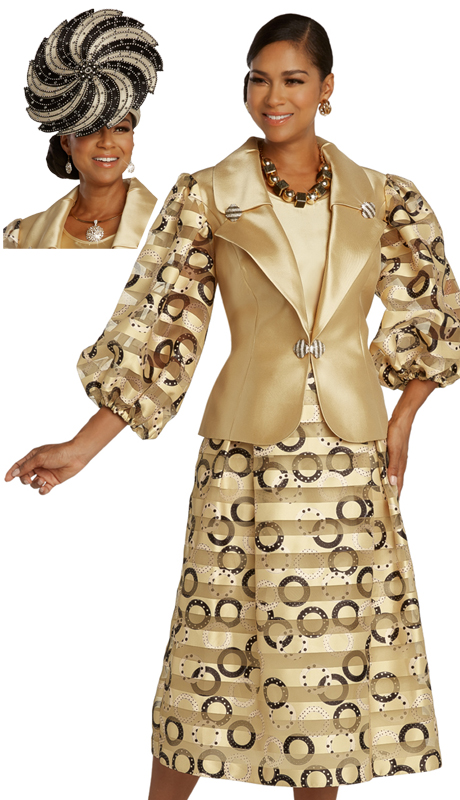 Donna Vinci 5684 ( 3pc Exclusive Novelty Womens Church Suit With Organza Inset, Printed Design, And Beautiful Rhinestone Trims And Buckle )