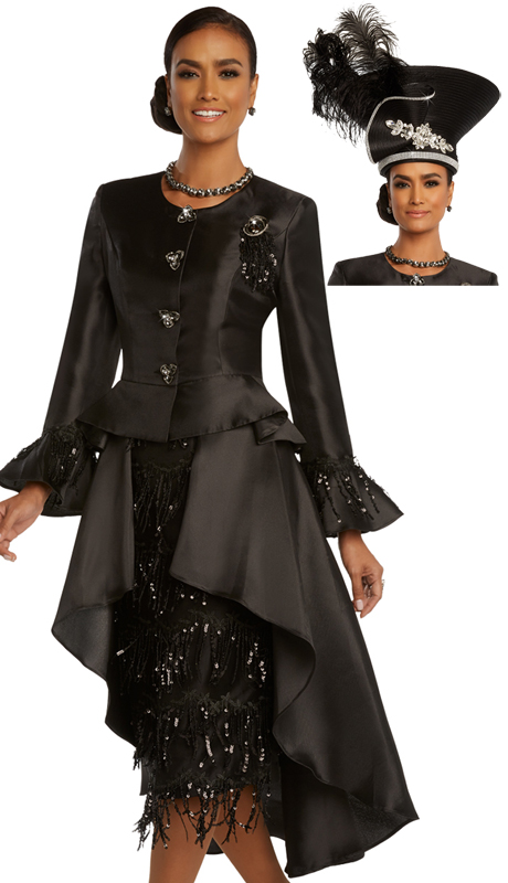 Donna Vinci 11825 ( 2pc Exclusive Silk Womens Church Suit With Guipure Lace, Black Sequins, Detachable Broach, And Beautiful Rhinestone Buttons )