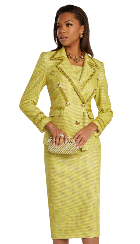 Donna Vinci 5683 ( 2pc Exclusive Metallic Novelty Womens Dress For Sunday Trimmed With Guipure, Metallic Gold Lace, And Shimmering Buttons )