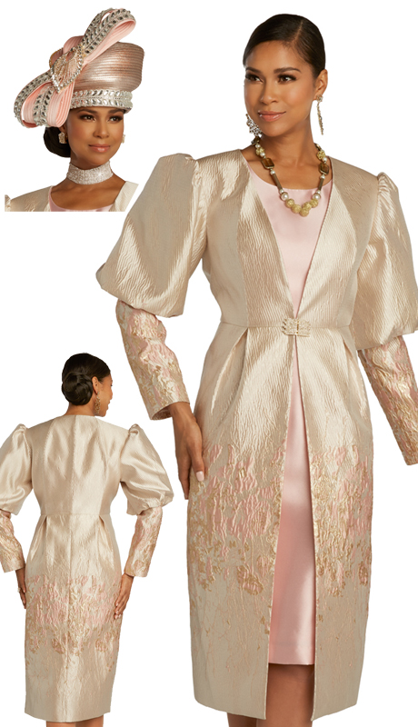 Donna Vinci 5681 ( 2pc Exclusive Novelty, Brocade, And Silk Womens Church Dress  Trimmed With Rhinestone Buckle )