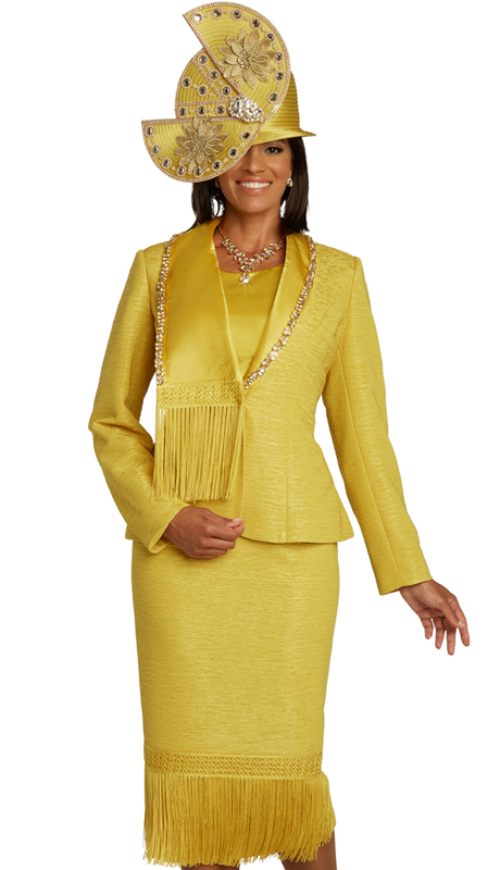 Donna Vinci 5680 ( 3pc Exclusive Novelty Womens Sunday Suit With Large Rhinestone Accents, Guipure Lace And Fringe Trim )