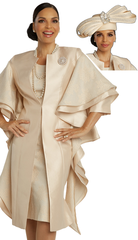 Donna Vinci 5678 ( 2pc Exclusive Novelty With Silk Womens Church Dress Trimmed With Pearls And Rhinestone Broach )