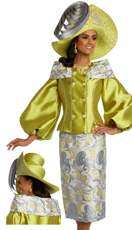 Donna Vinci 5677 ( 2pc Exclusive Embroidered Novelty And Silk Womens Dress For Church Trimmed With Rhinestone Buttons )