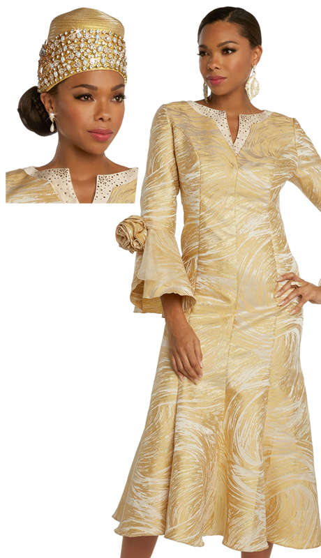 Donna Vinci 5676 ( 1pc Exclusive Novelty Brocade Womens Sunday Dress With Swirling Design Trimmed With Gold Rhinestones And Organza Cuffs )